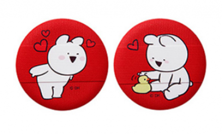 Спонж косметический для пудры THE SAEM Over Action Little Rabbit Love Me Cushion Puff 01 2шт: фото
