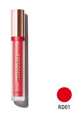 Помада для губ жидкая матовая THE SAEM Matte Stay Lacquer RD01 Red Count: фото