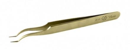 Пинцет для объемного наращивания ресниц Flario S1-Gold: фото