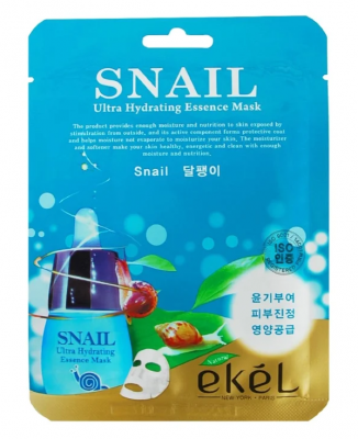 Тканевая маска для лица с муцином улитки EKEL Snail Ultra Hydrating Essence Mask 25г: фото