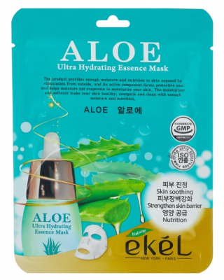 Тканевая маска для лица с экстрактом алоэ EKEL Aloe Ultra Hydrating Essence Mask 25г: фото