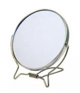Зеркало косметическое двухстороннее Sibel 11см, металлический ободок: фото