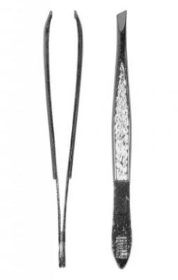 Пинцет скошенный узкий TITANIA 8см серебристый: фото